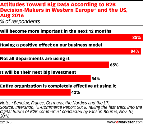 Attitudes Toward Big Data According to B2B Decision-Makers in Western Europe* and the US, Aug 2016 (% of respondents)