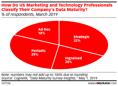 How Do US Marketing and Technology Professionals Classify Their Company's Data Maturity? (% of respondents, March 2019)