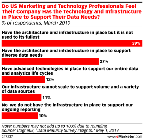 Do US Marketing and Technology Professionals Feel Their Company Has the Technology and Infrastructure in Place to Support Their Data Needs? (% of respondents, March 2019)