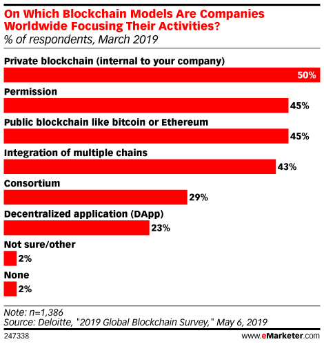 On Which Blockchain Models Are Companies Worldwide Focusing Their Activities? (% of respondents, March 2019)