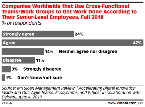 Companies Worldwide that Use Cross-Functional Teams/Work Groups to Get Work Done According to Their Senior-Level Employees, Fall 2018 (% of respondents)