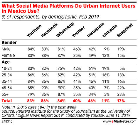 What Social Media Platforms Do Urban Internet Users in Mexico Use? (% of respondents, by demographic, Feb 2019)