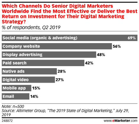 Which Channels Do Senior Digital Marketers Worldwide Find the Most Effective or Deliver the Best Return on Investment for Their Digital Marketing Strategy? (% of respondents, Q2 2019)