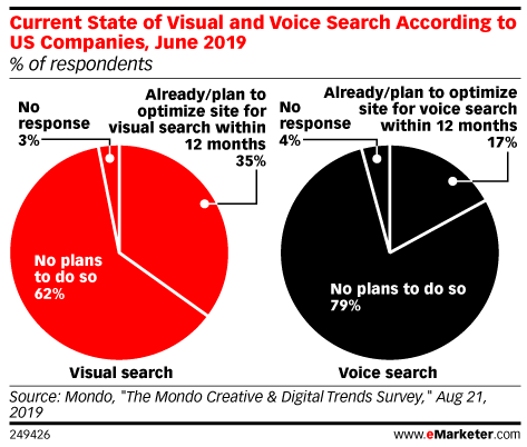 Current State of Visual and Voice Search According to US Companies, June 2019 (% of respondents)