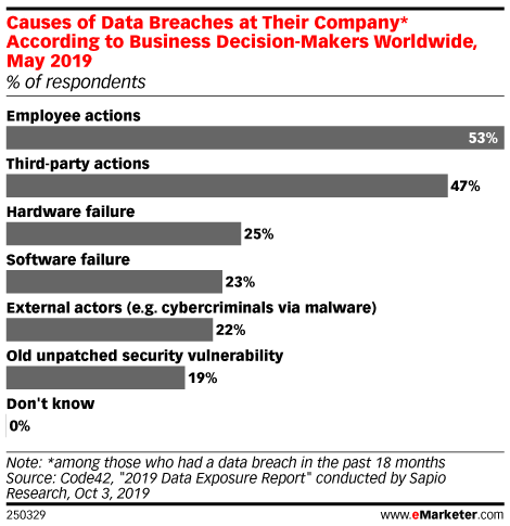 Causes of Data Breaches at Their Company* According to Business Decision-Makers Worldwide, May 2019 (% of respondents)